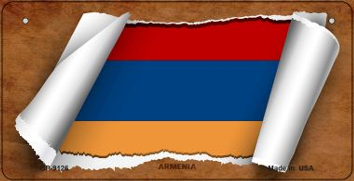 Armenia Flag Scroll Novelty Metal Bicycle Plate BP-9126