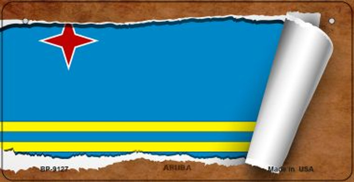 Aruba Flag Scroll Novelty Metal Bicycle Plate BP-9127