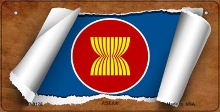 Asean Flag Scroll Novelty Metal Bicycle Plate BP-9128