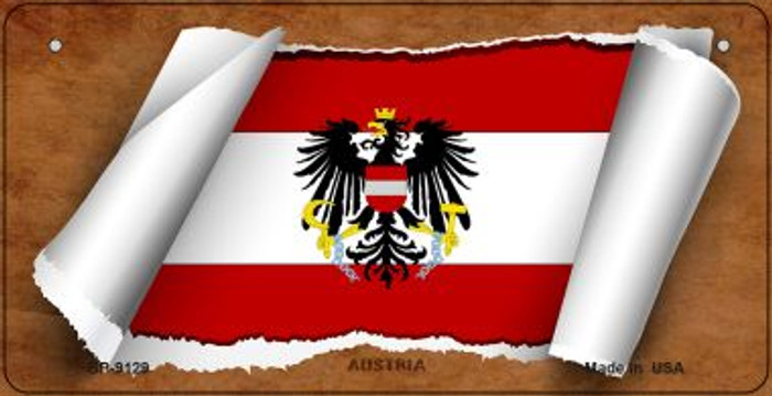 Austria Flag Scroll Novelty Metal Bicycle Plate BP-9129