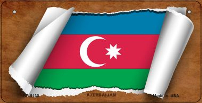 Azerbaijan Flag Scroll Novelty Metal Bicycle Plate BP-9130