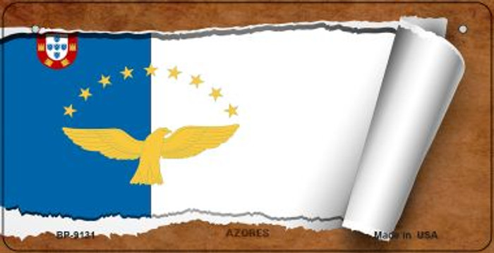 Azores Flag Scroll Novelty Metal Bicycle Plate BP-9131