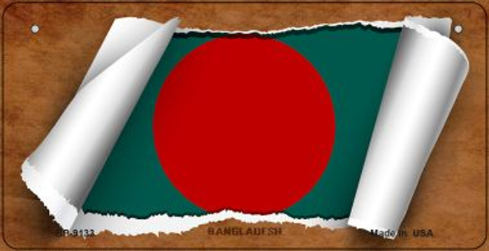 Bangladesh Flag Scroll Novelty Metal Bicycle Plate BP-9133