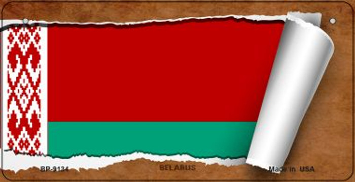 Belarus Flag Scroll Novelty Metal Bicycle Plate BP-9134