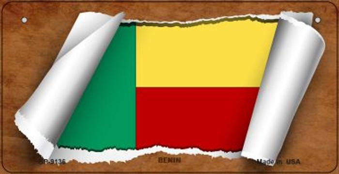 Benin Flag Scroll Novelty Metal Bicycle Plate BP-9136
