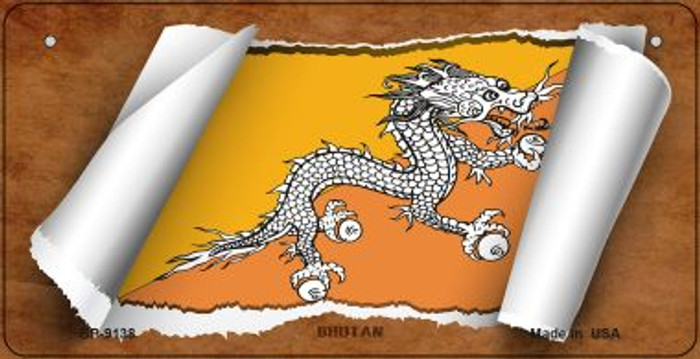 Bhutan Flag Scroll Novelty Metal Bicycle Plate BP-9138
