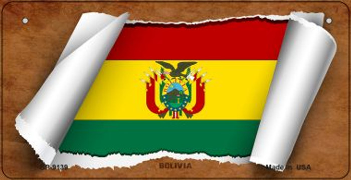 Bolivia Flag Scroll Novelty Metal Bicycle Plate BP-9139