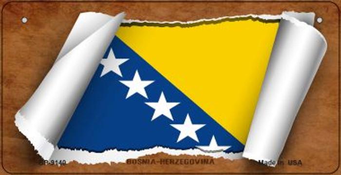 Bosnia-Herzegovina Flag Scroll Novelty Metal Bicycle Plate BP-9140