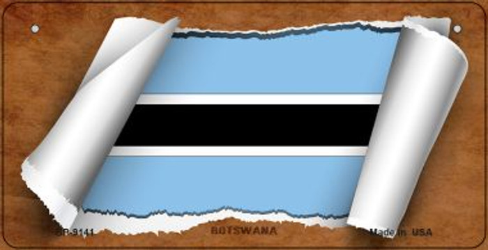 Botswana Flag Scroll Novelty Metal Bicycle Plate BP-9141