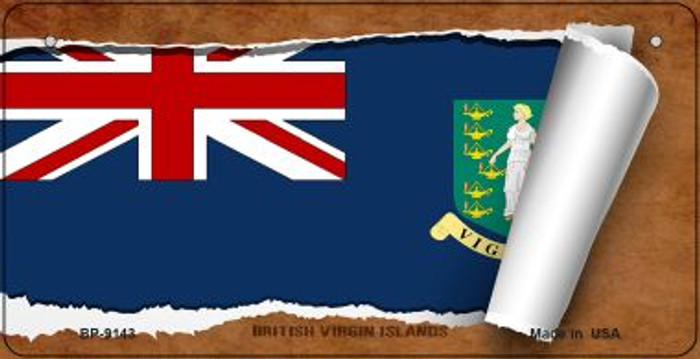 British Virgin Island Flag Scroll Novelty Metal Bicycle Plate BP-9143
