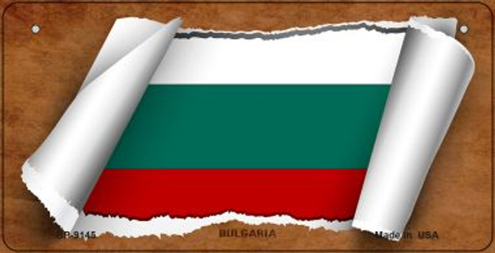 Bulgaria Flag Scroll Novelty Metal Bicycle Plate BP-9145