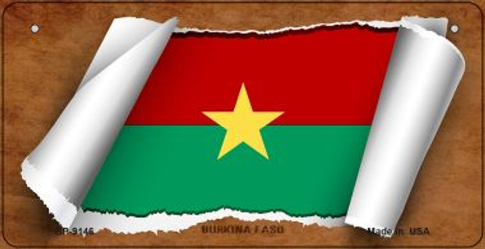 Burkina Faso Flag Scroll Novelty Metal Bicycle Plate BP-9146
