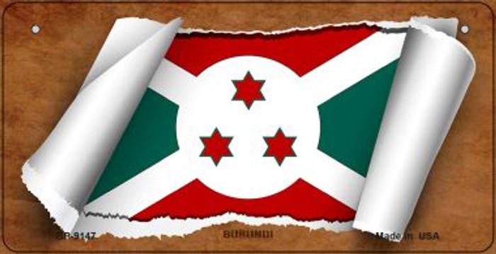 Burundi Flag Scroll Novelty Metal Bicycle Plate BP-9147
