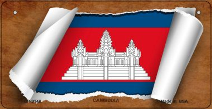 Cambodia Flag Scroll Novelty Metal Bicycle Plate BP-9148