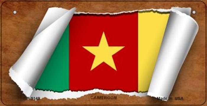 Cameroon Flag Scroll Novelty Metal Bicycle Plate BP-9149