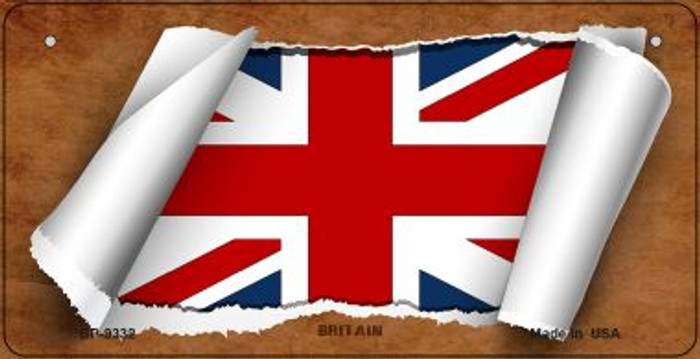 Britain Flag Scroll Novelty Metal Bicycle Plate BP-9332