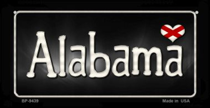 Alabama Flag Script Novelty Metal Bicycle Plate BP-9439