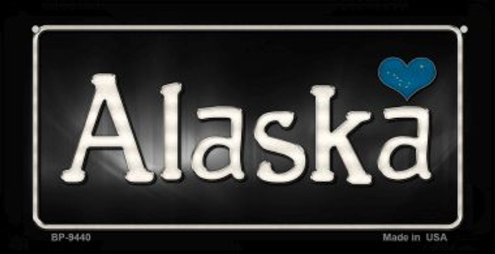 Alaska Flag Script Novelty Metal Bicycle Plate BP-9440