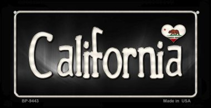 California Flag Script Novelty Metal Bicycle Plate BP-9443