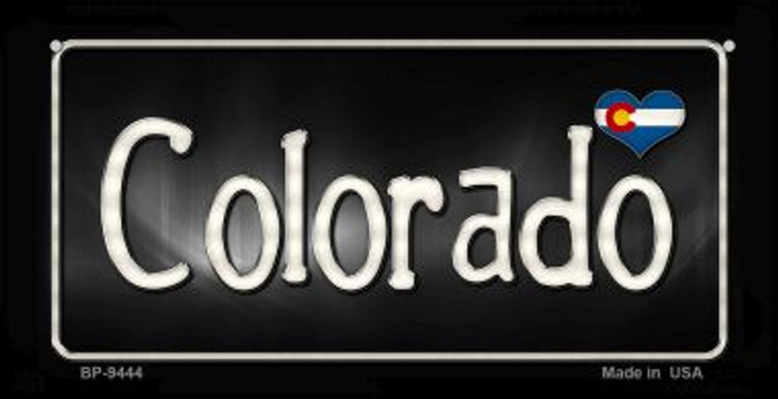 Colorado Flag Script Novelty Metal Bicycle Plate BP-9444