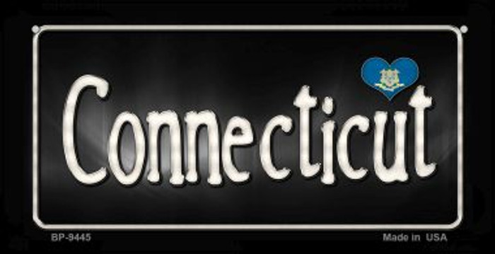 Connecticut Flag Script Novelty Metal Bicycle Plate BP-9445