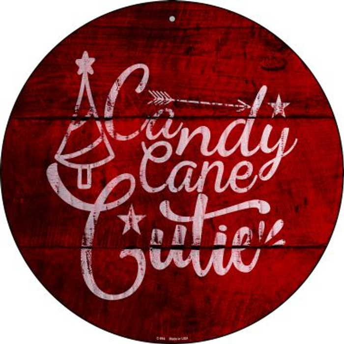 Candy Cane Cutie Novelty Metal Circular Sign C-994