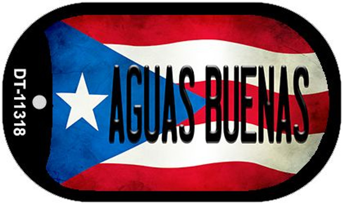 Aguas Buenas Puerto Rico State Flag Novelty Metal Dog Tag Necklace DT-11318