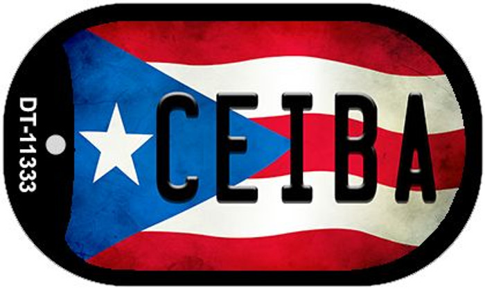 Ceiba Puerto Rico State Flag Novelty Metal Dog Tag Necklace DT-11333