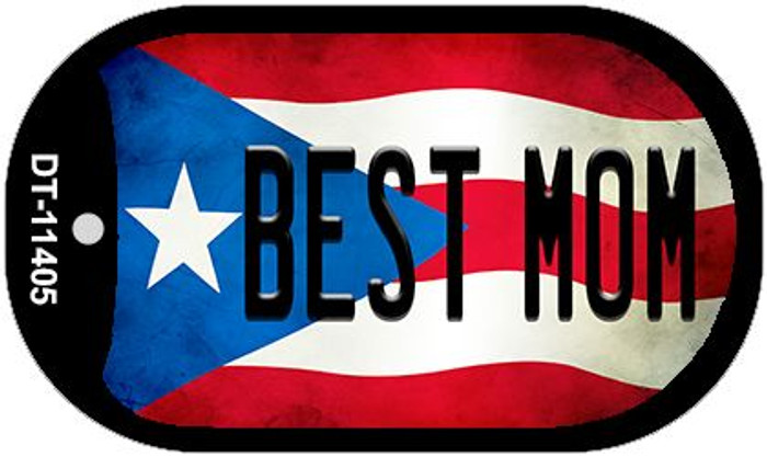 Best Mom Puerto Rico State Flag Novelty Metal Dog Tag Necklace DT-11405