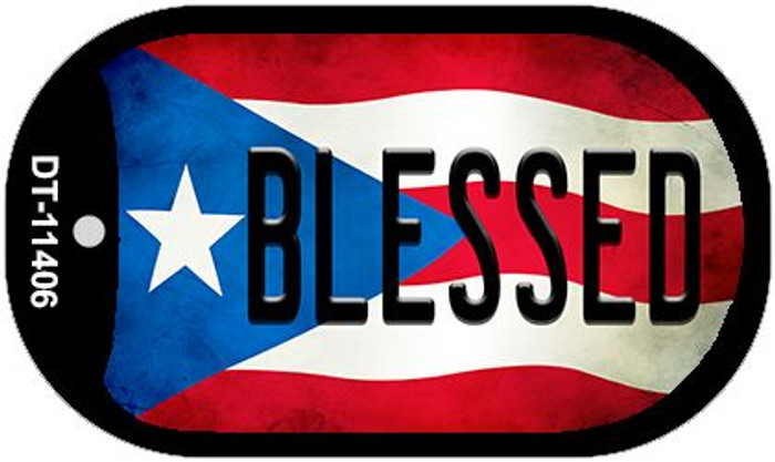 Blessed Puerto Rico State Flag Novelty Metal Dog Tag Necklace DT-11406