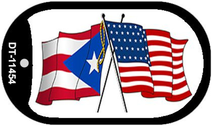 Puerto Rico / USA Flag Novelty Metal Dog Tag Necklace DT-11454