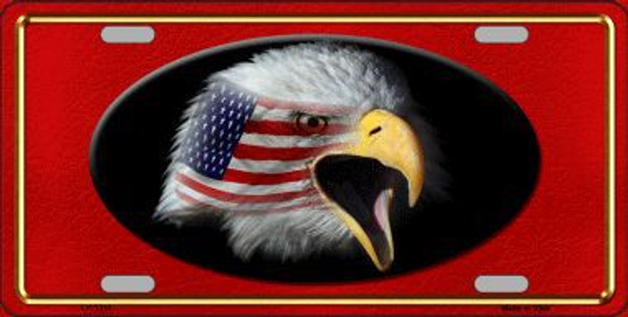 American Flag Eagle Red Novelty Metal License Plate