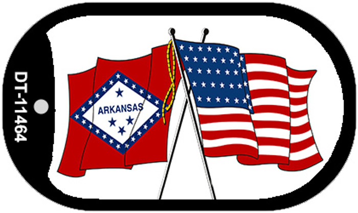 Arkansas / USA Crossed Flags Novelty Metal Dog Tag Necklace DT-11464