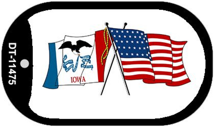 Iowa / USA Crossed Flags Novelty Metal Dog Tag Necklace DT-11475