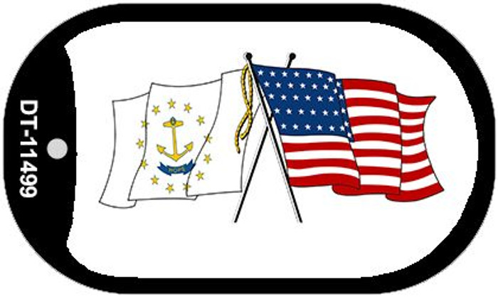 Rhode Island / USA Crossed Flags Novelty Metal Dog Tag Necklace DT-11499