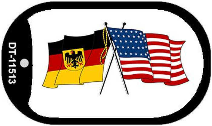 Germany / USA Flag Novelty Metal Dog Tag Necklace DT-11513