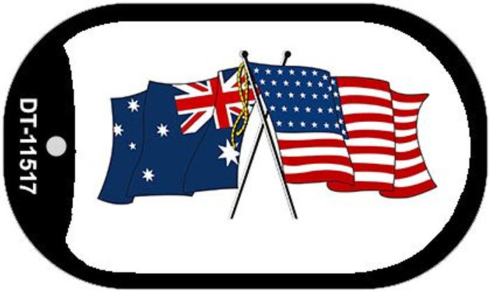 Australia / USA Flag Novelty Metal Dog Tag Necklace DT-11517