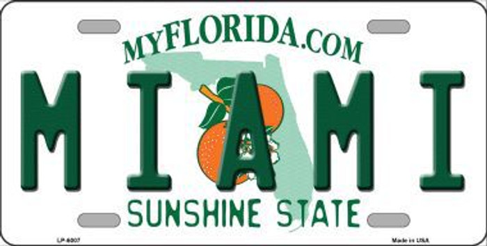 Miami Florida Novelty Metal License Plate LP-6007