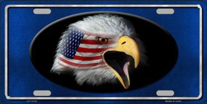 American Flag Eagle Blue Novelty Metal License Plate