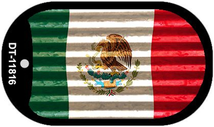 Mexico Flag Corrugated Novelty Metal Dog Tag Necklace DT-11816