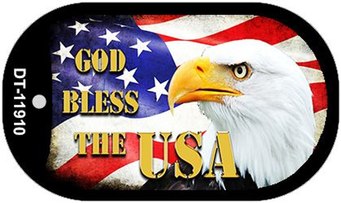 God Bless The USA Novelty Metal Dog Tag Necklace DT-11910