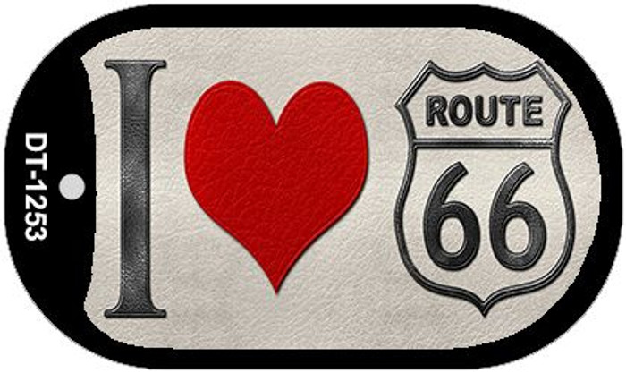 I Love Route 66 Novelty Metal Dog Tag Necklace DT-1253