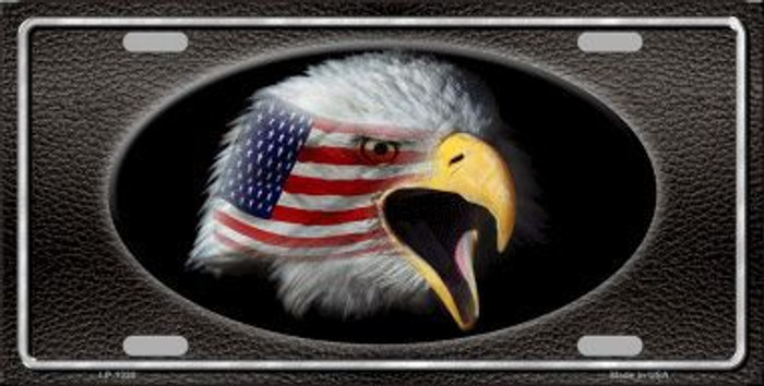 American Flag Eagle Black Novelty Metal License Plate