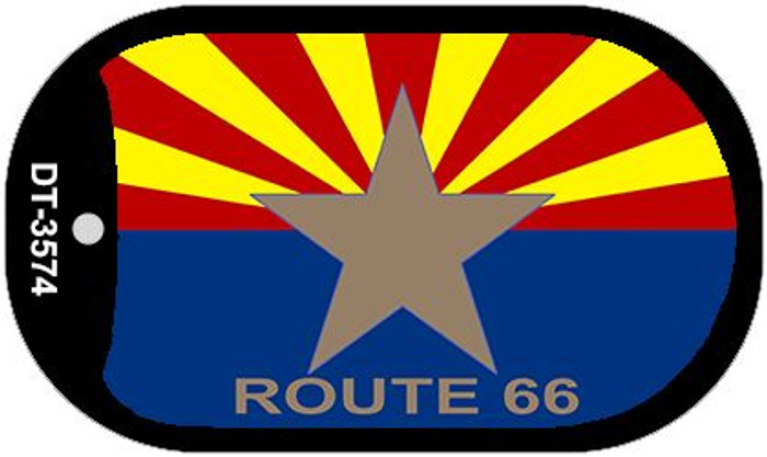 Arizona Flag with Route 66 Novelty Metal Dog Tag Necklace DT-3574