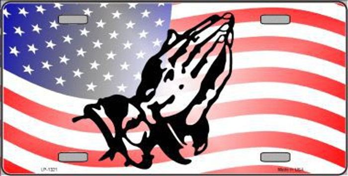 American Flag Praying Hands Novelty Metal License Plate