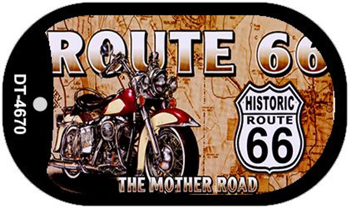Route 66 Mother Road Motor Cycle Novelty Metal Dog Tag Necklace DT-4670