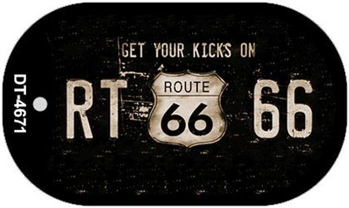 Route 66 Get Your Kicks Novelty Metal Dog Tag Necklace DT-4671