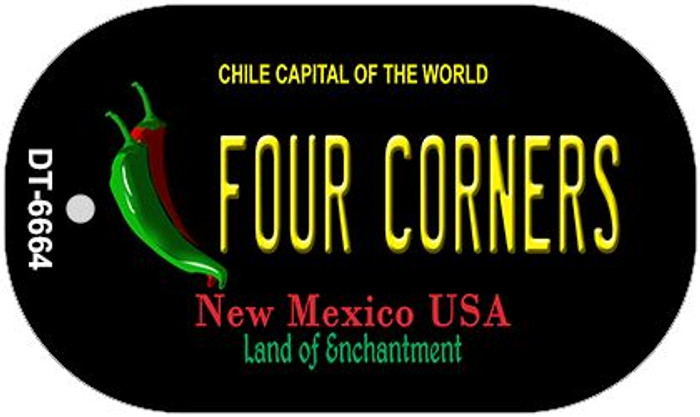 Four Corners Black New Mexico Novelty Metal Dog Tag Necklace DT-6664