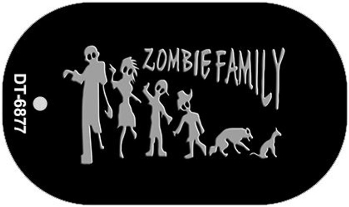 Zombie Family Black Novelty Metal Dog Tag Necklace DT-6877