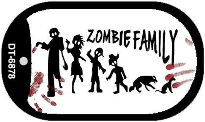 Zombie Family White Novelty Metal Dog Tag Necklace DT-6878